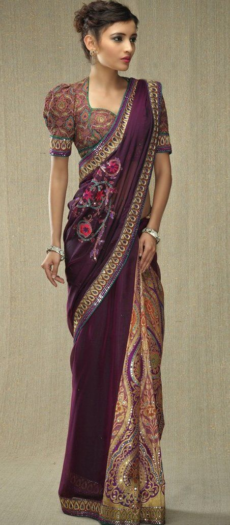 Aubergine and green two-tone silk sari; Mirror work and gold tear drop shape zari embroidery border