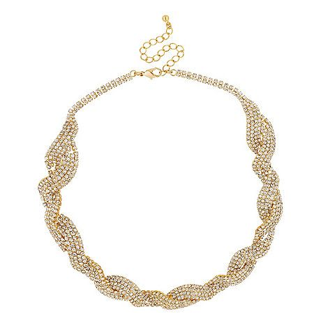 Jon Richard Diamante crystal gold twist necklace- at Debenhams.com