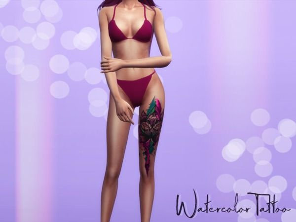 Reevaly S Watercolor Tattoo Sims 4 Tattoos Sims 4 Cc Skin Sims