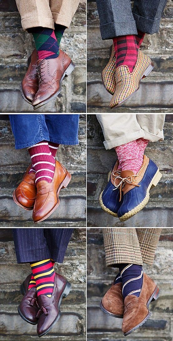 Men's Fun Classic Style | Vintage Mens Fashion Trend Inspiration | Colorful socks | Stylish shoes | Tweed, Plaid Blue Slacks | groomsman ideas | Madmen | Brooks Brothers Preppy Fun Style: