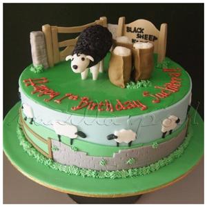 A Baa Baa Black Sheep theme cake for Suchitra 1st birthday held at