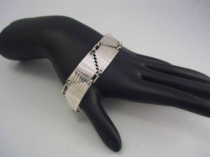 Vintage Sterling Silver 925 Geometric Pyramid Panel Bracelet ~Egyptian Revival~