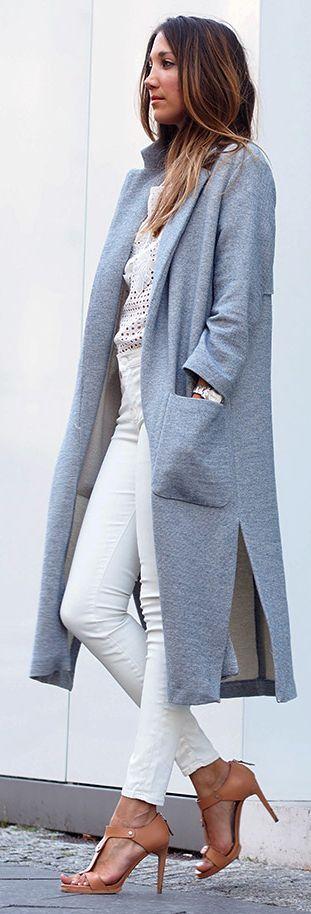 #hello, Shopping Grey Long Coat Outfit Idea