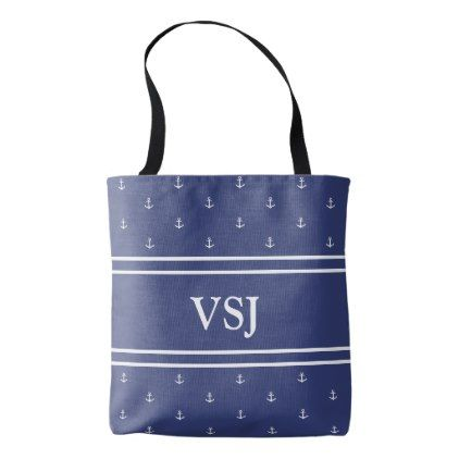 Custom Monogram Nautical Blue and White Tote Bag - monogram gifts unique custom diy personalize