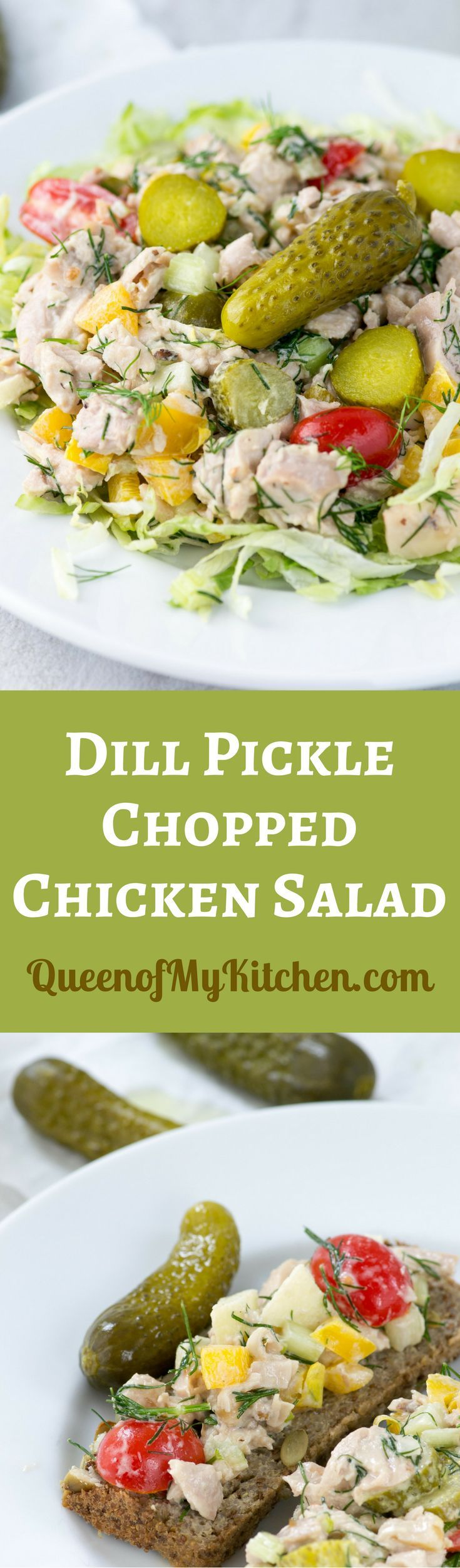 Dill Pickle Chopped Chicken Salad - A sophisticated chicken salad with dill pickle flavor - colorful, delicious, and super crunchy. Gluten-free.   QueenofMyKitchen.com