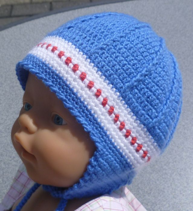 Newborn Crochet Hat Pattern With Ear Flaps : Blue Ear Flap Hat free crochet graph pattern Crochet ...