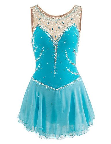 Figure Skating Dress Women's Girls' Ice Skating Dress LightBlue Spandex Rhinestone Performance Skating Wear Handmade Jeweled Rhinestone