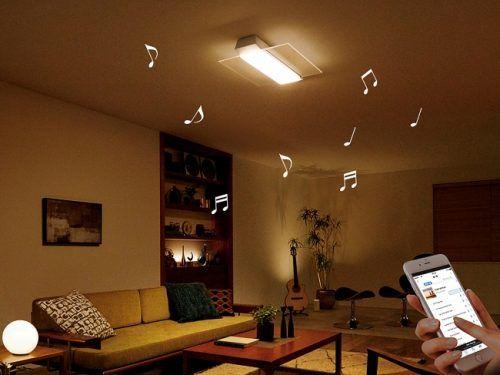 Bluetooth(R)対応のスピーカーを一体化させたLEDシーリングライト 「AIR PANEL LED THE SOUND」