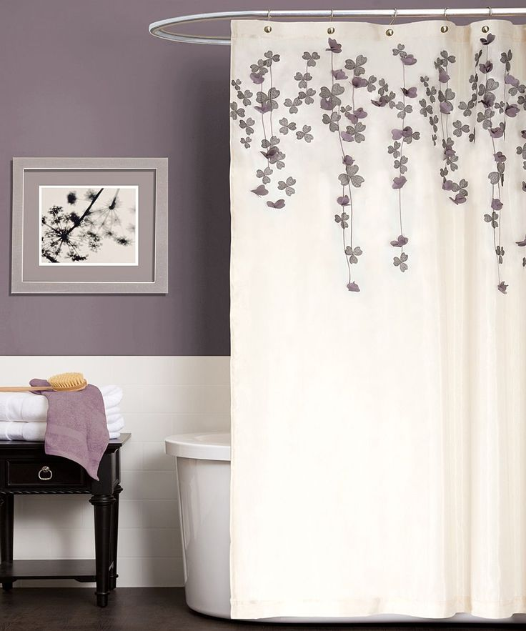 Ivory & Purple Flower Drops Shower Curtain | Daily deals for moms, babies and kids