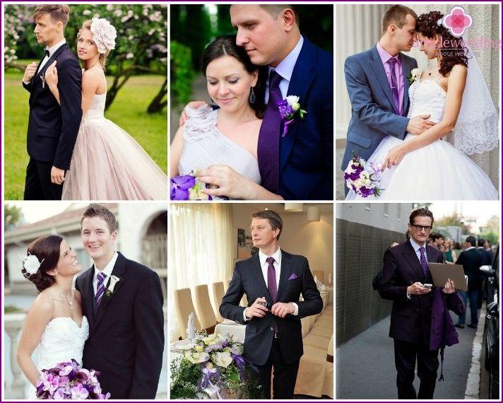 Svatba v purpurové barvy: navrhnout nápady, novomanželé a hosté šaty, příslušenství, fotografie