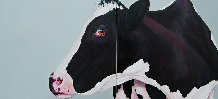 Cow Fleurette Diptych 24''x 54'' Vendu/sold