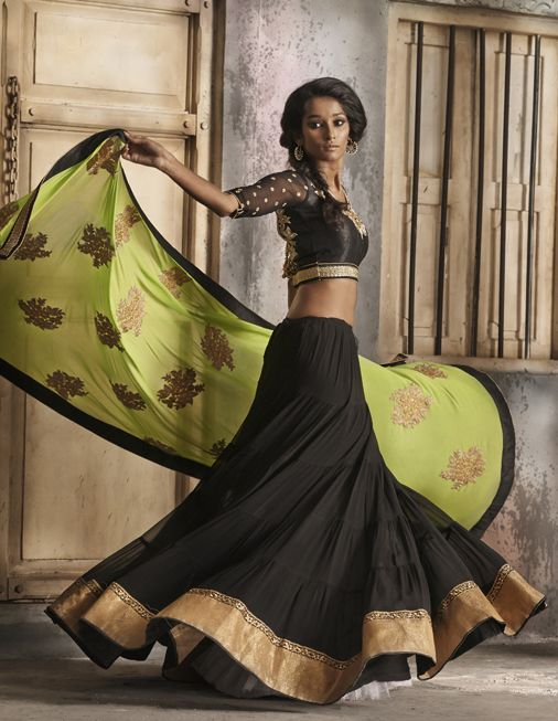 Beautiful Black #Lehenga With Lime Green Dupatta & Gold Border.