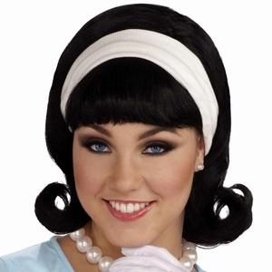50s Black Flip Headband Wig