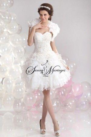 robe de mariee courte avec dentelle simple et elegante bustier drapé 2