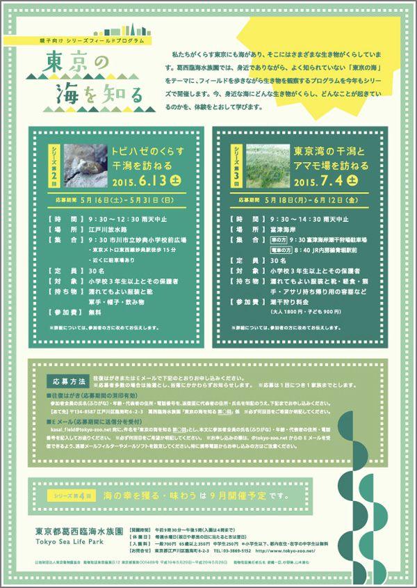 葛西臨海水族園 |親子向けシリーズフィールドプログラム「東京の海を知る」、第2回「トビハゼのくらす干潟を訪ねる」参加者募集| 東京ズーネット