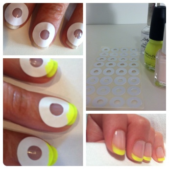 French manicure using paper hole reinforcement stickers!  Seems like it might be a lot easier (and I'm sure it's cheaper than the usual mani guidelines).