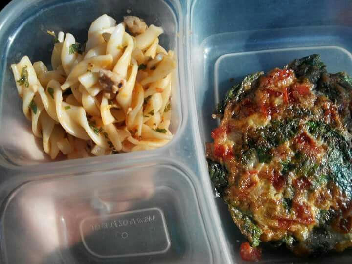 Chicken  fuccilli and spinach egg omelet