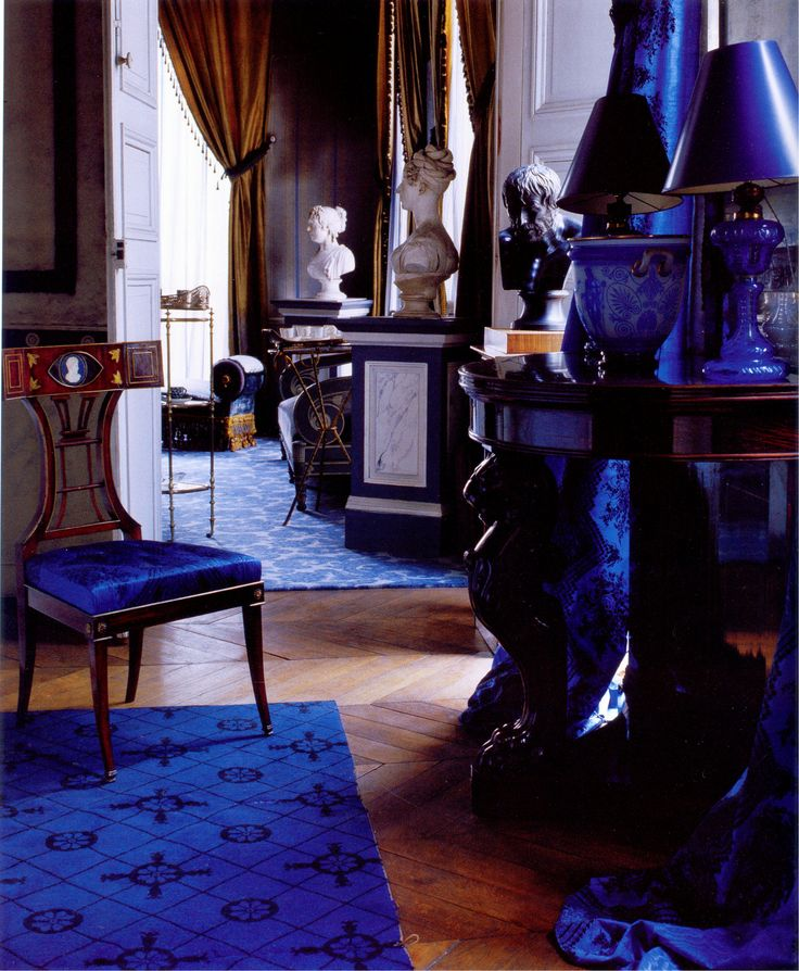 """Madeleine Castaing home sapphire blue a signature color for her featured in Emily Evans book """" The World of Madeleine Castaing"""" . She was a legendary decorator in France who """"created her own look that was a unique blend of Neoclassicism, Proustian Romanticism and pure wit' (quote from book)"""