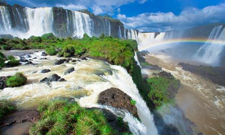 Iguazu Falls on the border of Brazil and Argentina.  It's like Niagra but bigger, hotter, and more tropical. <3