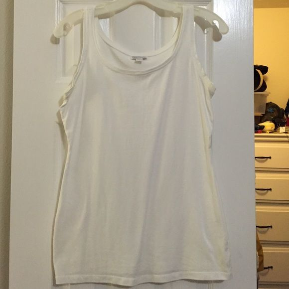 Maternity Pea in a Pod White Tank Great Used Condition. I bought /wore last summer, so only a year old. Very slight discoloration under arms. Not super long, so better for 1-2 trimester. A Pea in the Pod Tops Tank Tops
