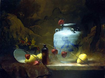 "Gregg Kreutz.  Simply amazing still life pieces. You can definitely see his ""Leffel"" influences in his work."