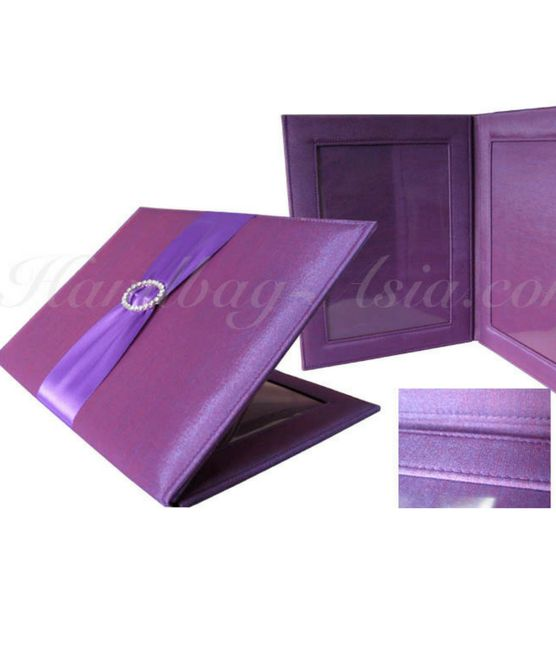 Embellished Purple Silk Picture Folder Featuring Transparent Cover & Oval Buckle.