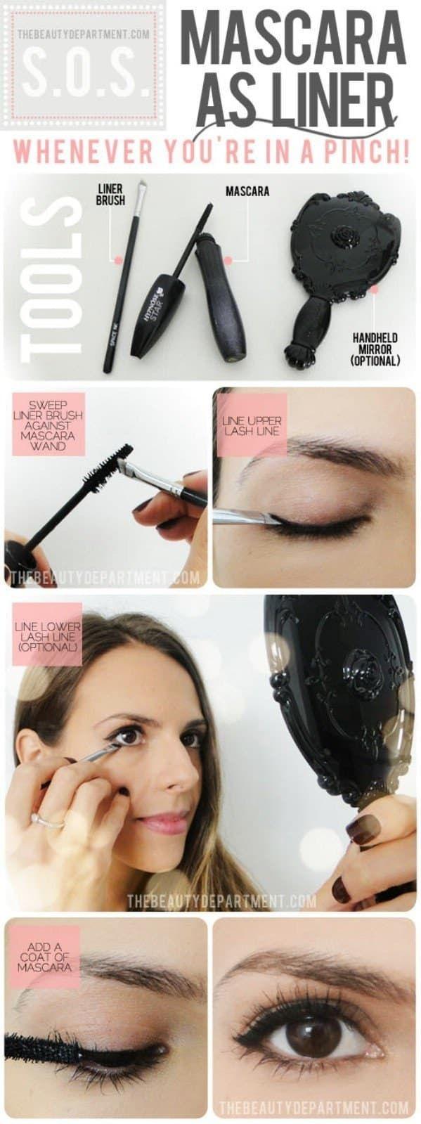 Usa tu pincel de ojos para tomar un poco de máscara y úsala para hacer la línea de los párpados superiores. Puedes ver las instrucciones completas aquí. La Máscara Mirenesse iCurl funciona estupendamente y hace la doble función.