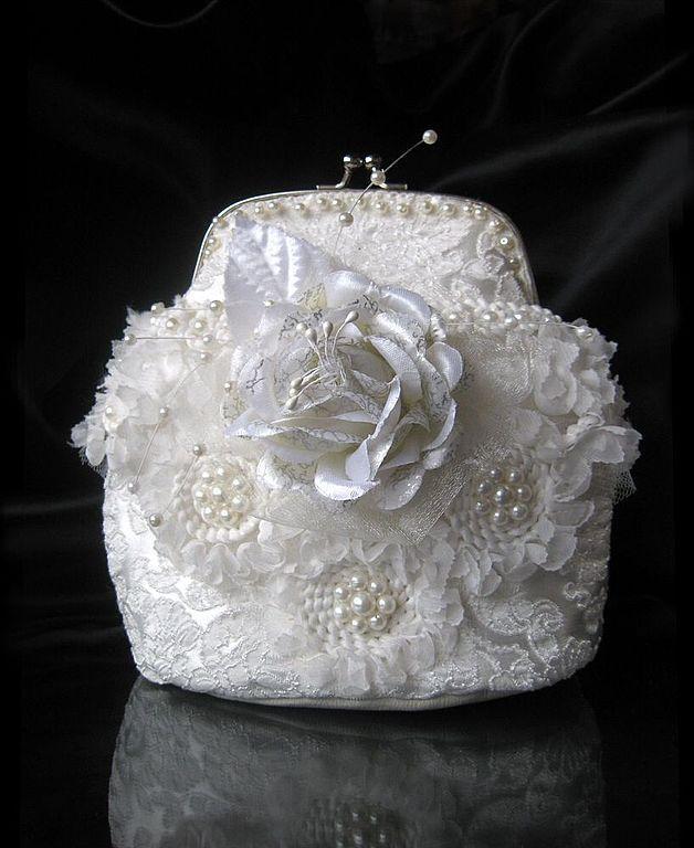 """Купить Свадебная сумочка """"Белый цветок"""" - белый, цветочный, свадебные…"""
