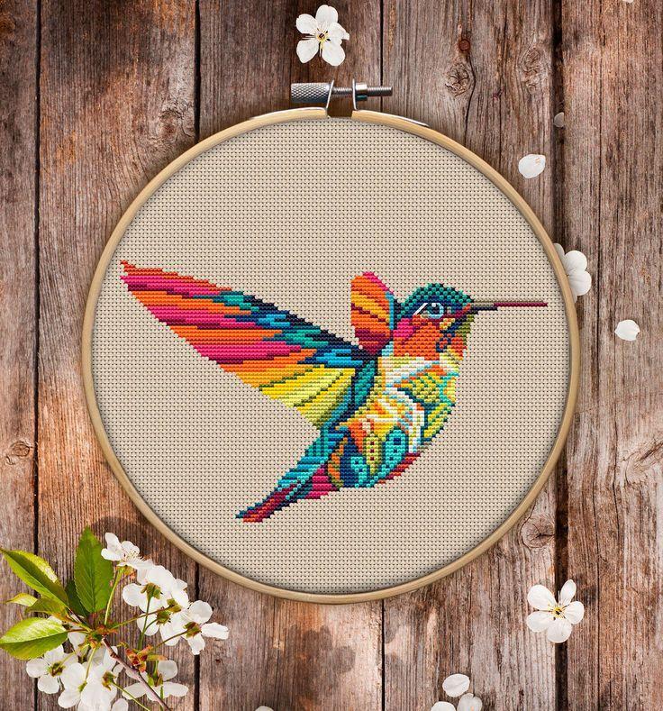 Dies ist ein modernes Kreuzstichmuster von Mandala Hummingbird zum sofortigen Download