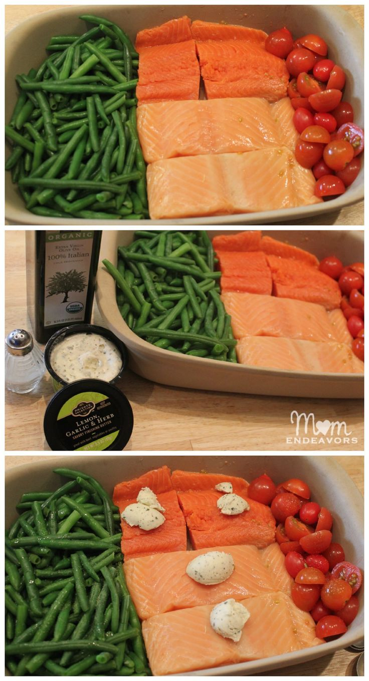 One Dish Dinner Salmon & Vegetables-need to find a way to make the garlic herb butter whole30