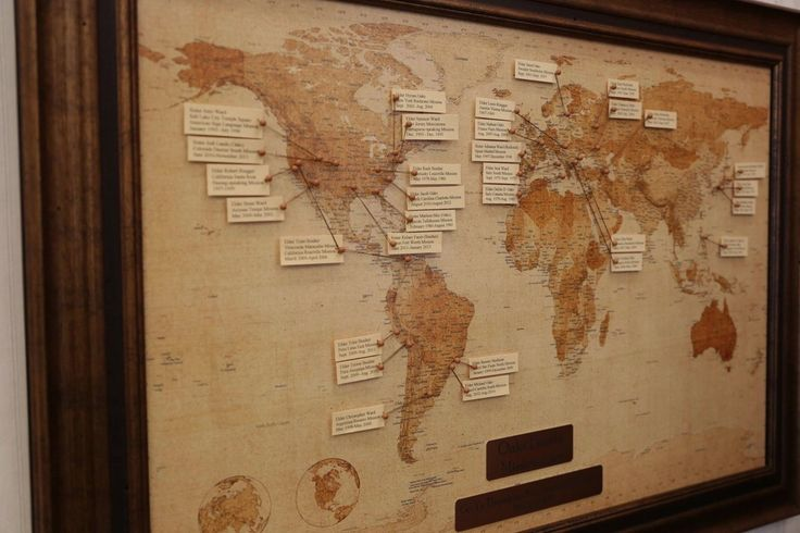 """Oaks Family World Map of Missionary Service:  """"This map that hangs in my office is one of my most prized possessions. It details all of the missions that my wife, Kristen, my children, spouses of my children, and my grandchildren have served. It even lists the time Sister Oaks and I spent in the Philippines when I was the area president there from 2002 to 2004."""""""