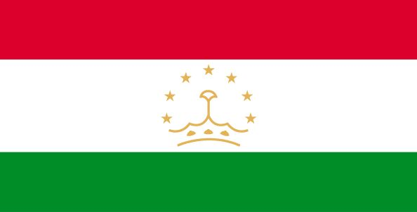 Tajikistan Flag ~ The flag of Tajikistan was officially adopted on November 24, 1992.           Tajikistan's flag still displays colors from its original republic flag, when it was a part of the former Soviet Union. Red is from the Russian flag; green is symbolic of its agricultural products, and white represents the cotton crop. The centered crown with seven stars is said to represent the country's independence.