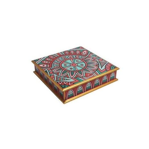 NOVICA Inca Inspired Floral Box in Reverse Painted Glass (£41) ❤ liked on Polyvore featuring home, home decor, small item storage, decor accessories, decorative boxes, red, novica, red home decor, inspirational home decor and floral home decor