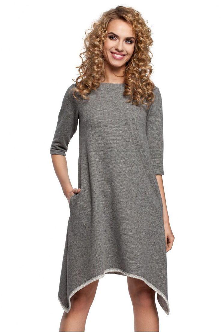 Ασύμμετρο μίνι φόρεμα.88% Cotton 12% Polyester