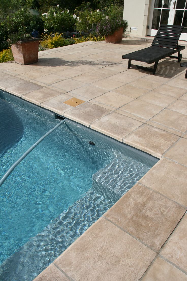 Need some coping around the pool? Shown here is the Kent coping in Autumnstone.