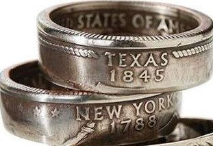 US State Quarter Rings - Handcrafted, Custom Order, Sizes 5-11 by VTCoinRings on Etsy https://www.etsy.com/listing/154424992/us-state-quarter-rings-handcrafted
