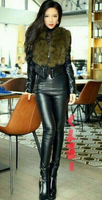 41e19e5abe3f4a Asian girl in fur leather jacket, leather pants, and ankle boots ...