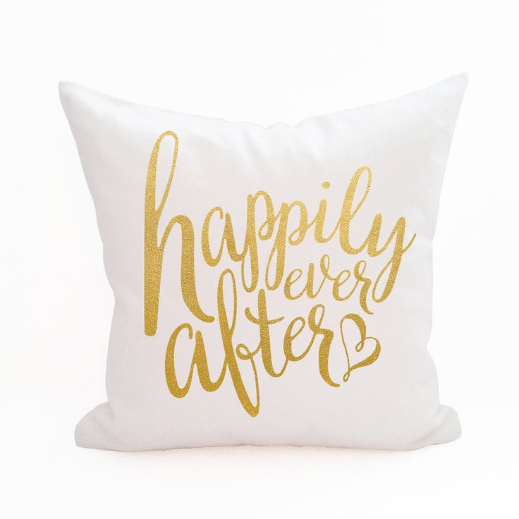White and gold happily ever after throw pillow