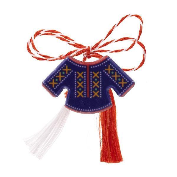 """Broșă mărțișor tip pin """"Ie albastră cu motive tradiționale roșii"""""""