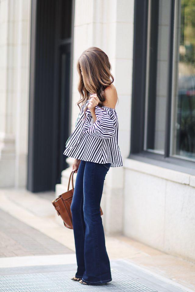 striped top + flared denim
