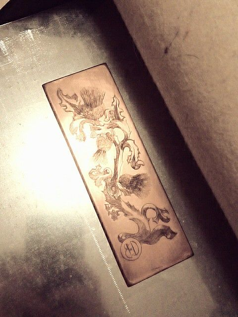 Engraving on copper for chalcography print. The flower of Scotland.