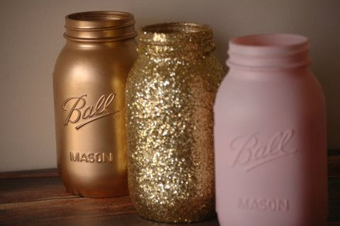 Handmade Gorgeous Pink, Gold and Gold Glitter painted Mason Jars. These jars would be the perfect addition for any type of event that you are throwing this spring and summer! They are painted only on the outside so they can hold water. Pint Size: Height: 5in / 127mm / 12.7cm Mouth: 2.5in / 63.5mm / 6.35cm Quart Size: Height: 7in / 177.8mm / 17.78cm Mouth: 2.5in / 63.5mm / 6.35cm If these colors are not your thing, I can make these in other colors as well. Message me for ...