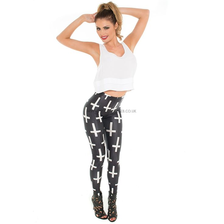 'Cross' leggings modelled by Chloe Sims