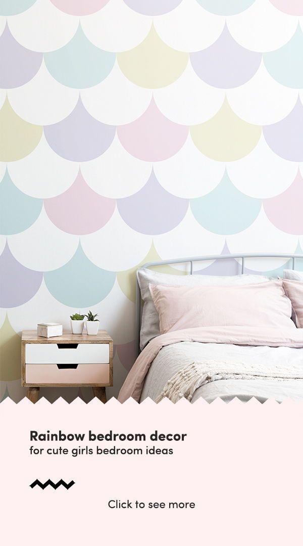 Pastel Pattern Geometric Wallpaper Mural Muralswallpaper Girls Rainbow Bedroom Girl Room Wallpaper Bedroom Feature Wall
