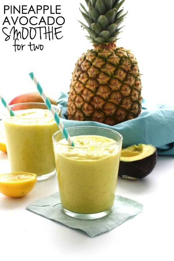 Pineapple Avocado Smoothie for Two | A creamy pineapple smoothie | #vegan #dairyfree | thealmondeater.com