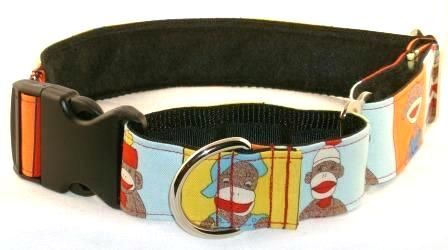 Sock Monkeys martingale dog collar, Animal Design martingale collars - Trendy Hounds