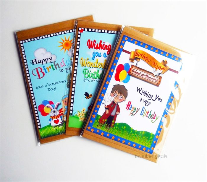 Harry Potter & Alice In Wonderland Birthday Greeting Cards Pack of 3