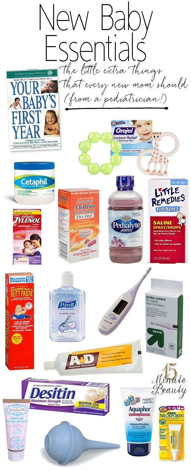 Everything your new baby needs from the pharmacy for their medicine cabinet, a great list from a pediatrician!