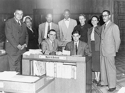 Signing Oregon's Civil Rights Bill, 1953....One of the opposers of the bill Rev. Elbert D. Riddick, was also taken to court for striking a pregnant Black woman (Mrs. Lizzie Sheppard)