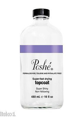 POSHE SUPER- FAST NAIL DRYING TOPCOAT 16 OZ. DRIES IN 5 MINUTES (WHITE BOX)